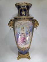 Amazing huge antique French Sevres porcelain & bronze urn