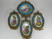 Antique French Sevres set of 4 porcelain & bronze plaques
