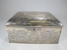 Antique English Birmingham sterling jewelry box
