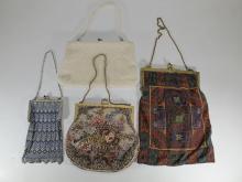 Antique set of 4 mesh bags, Mandalian, etc