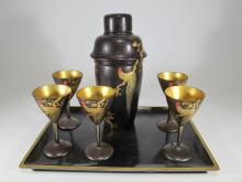Cc 1950s Japanese lacquered cocktail set