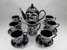 Vintage Oriental overlay porcelain teapot set