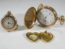 2 Elgin & Waltham GF pocket watches & picture frame