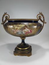 Antique French Sevres porcelain & bronze centerpiece