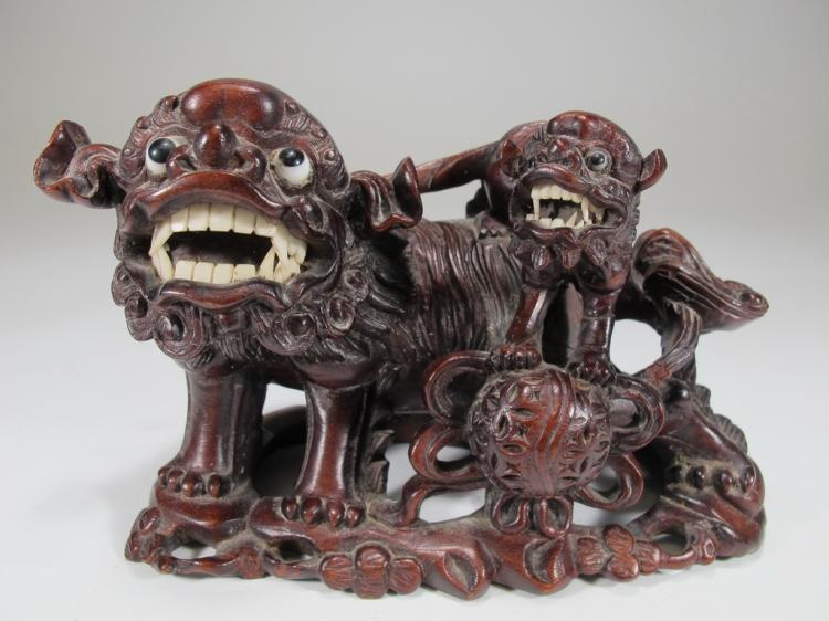 Antique Chinese carved wood Foo Dogs sculpture