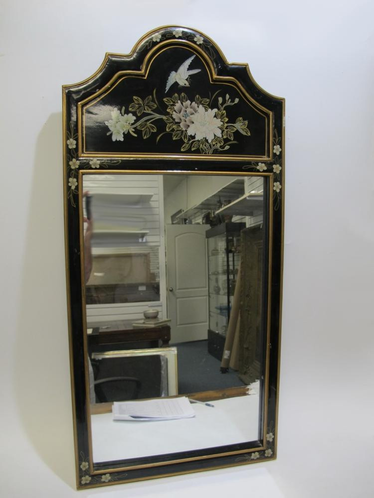 Vintage black lacquer wood wall mirror