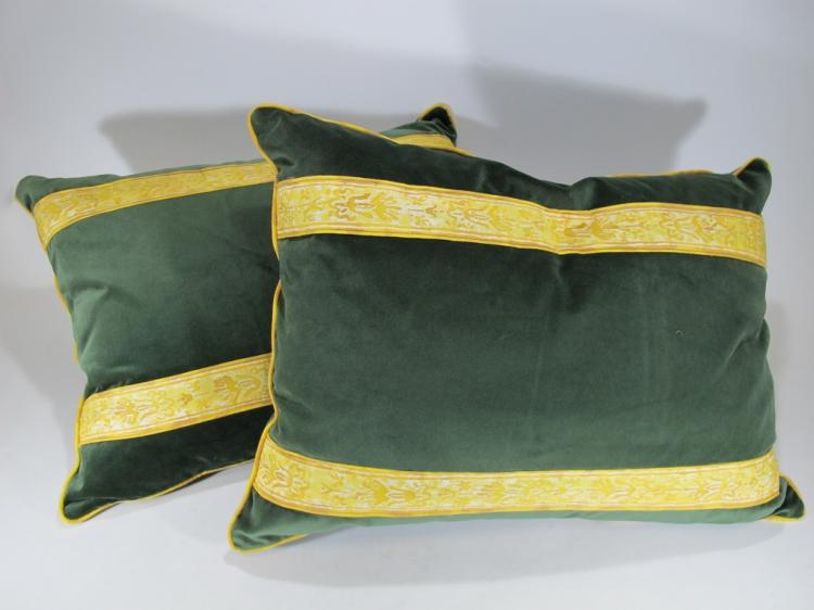 Pair of green velvet with a Fortuny guard pillows
