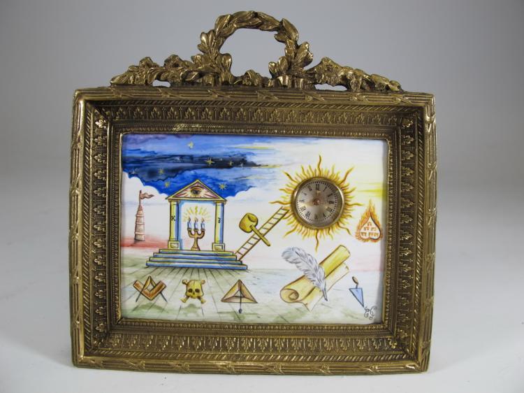 Antique Masonic bronze & enamel table clock