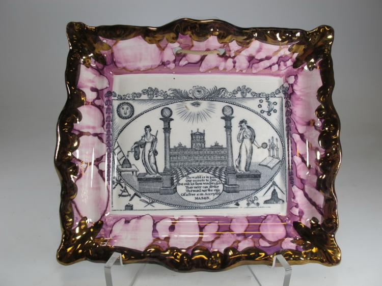 Dixon & Co Sunderland Masonic pink lustre plaque