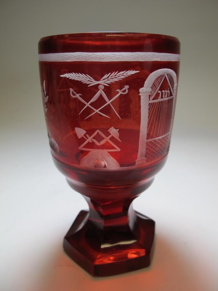 Antique Masonic Bohemian ruby glass goblet