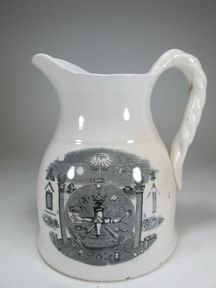 Antique English Masonic cream ware jug