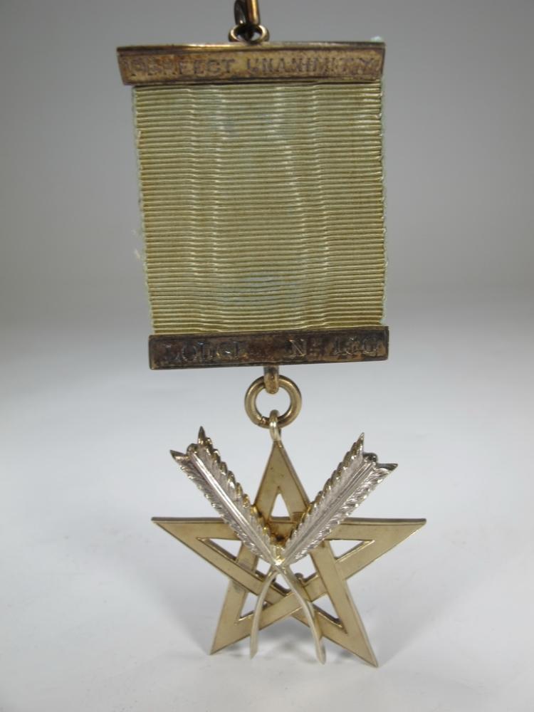 Antique Masonic silver vermeil jewel