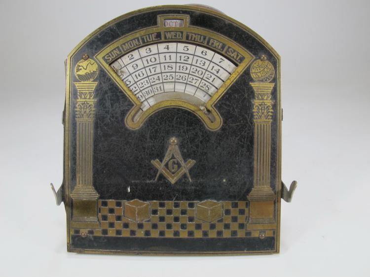 Antique Masonic perpetual desk metal calendar