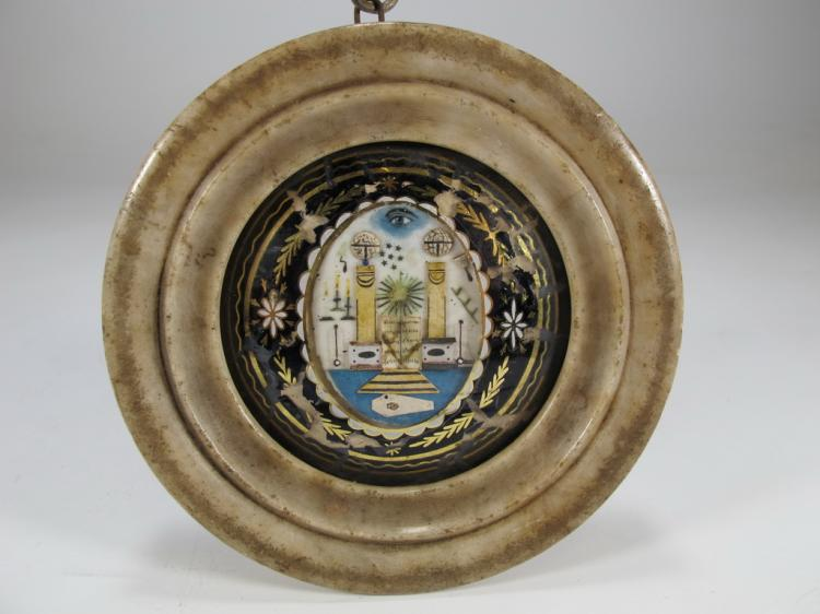 Antique French Masonic alabaster P.O.W. jewel 1797-1801