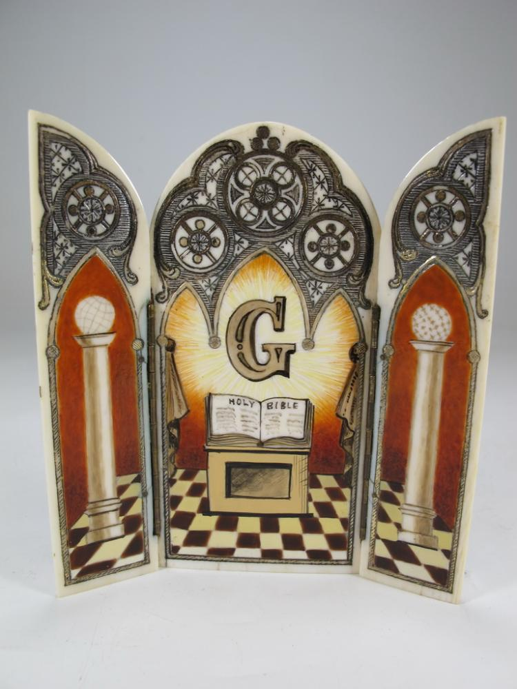 Antique Masonic carved & painted triptych