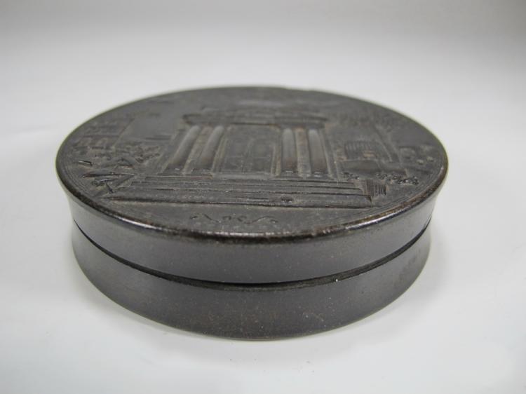 Antique Masonic rectangular round snuff box