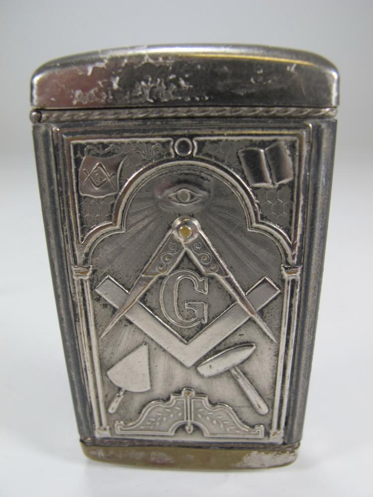 Antique Masonic white metal vesta case