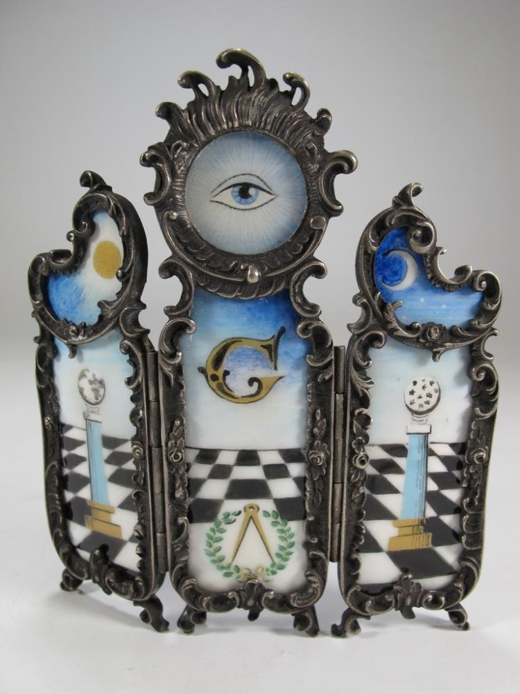 Antique Masonic metal & enamel Triptych