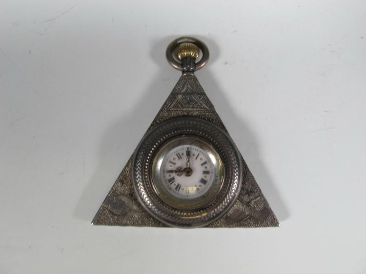 Antique Masonic 935 silver triangular pocket watch