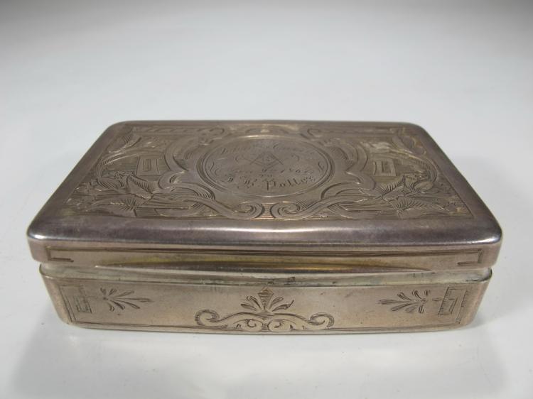 Antique Masonic European silver box