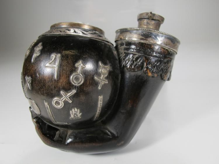 Antique Masonic carved double snuff mull with silver mounts