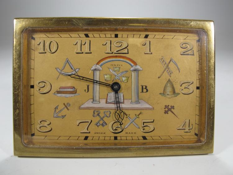 Antique Swiss Masonic bronze table clock