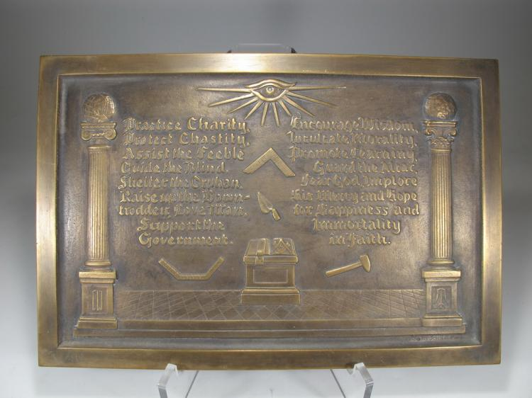 Antique Masonic bronze plaque by John A. Pape, 1930
