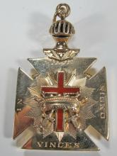 Masonic 14K gold Scottish Rite Knights Templar locket
