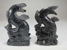 Antique Chinese pair of hard stone fishes sculptures