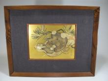 Antique Japanese gilt and silver on copper plaque