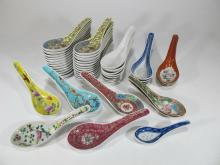 Vintage set of 47 Chinese porcelain soup spoons