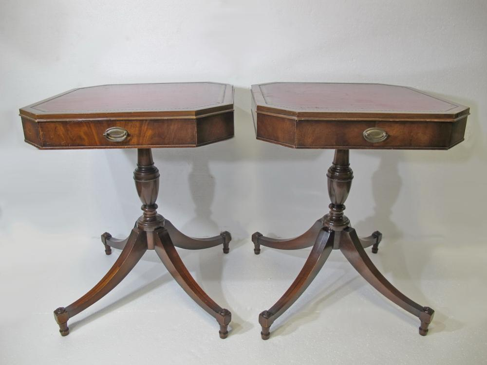- Vintage Weiman Pair Of Leather Top Side Tables