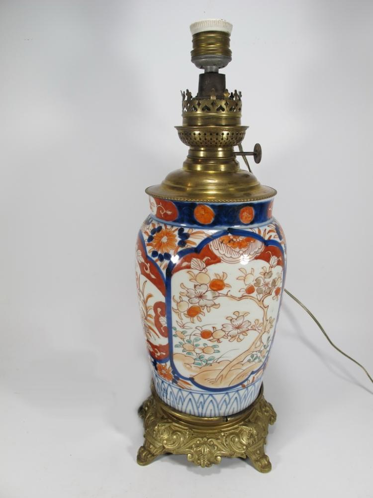 Kosmos-Brenner Imari vase oil lamp electrified