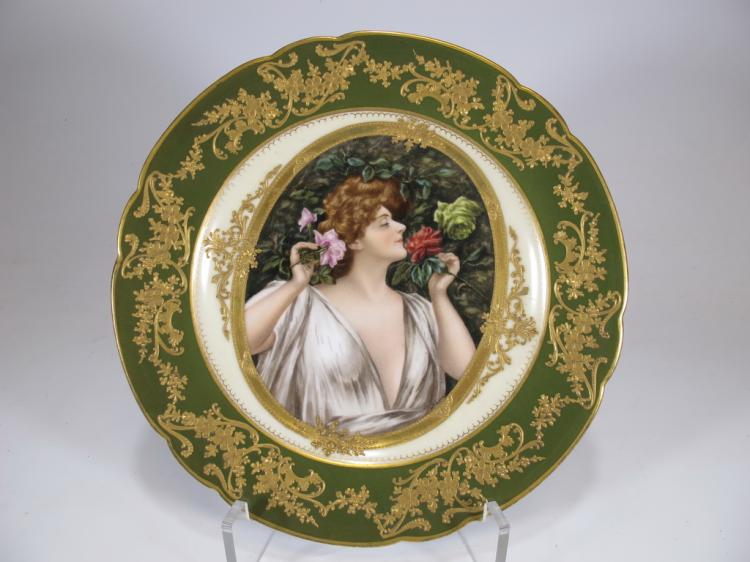 Antique Vienna porcelain plate, signed