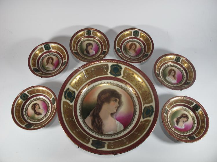 Antique set of 7 Vienna porcelain plates