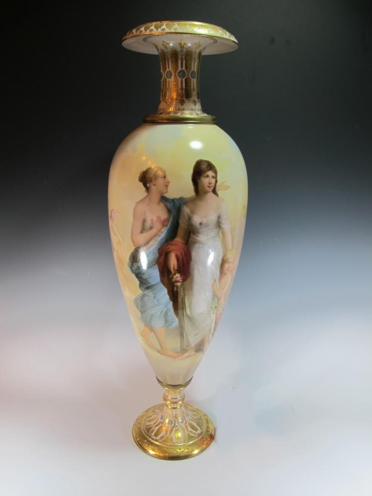 Huge Antique Royal Vienna porcelain urn
