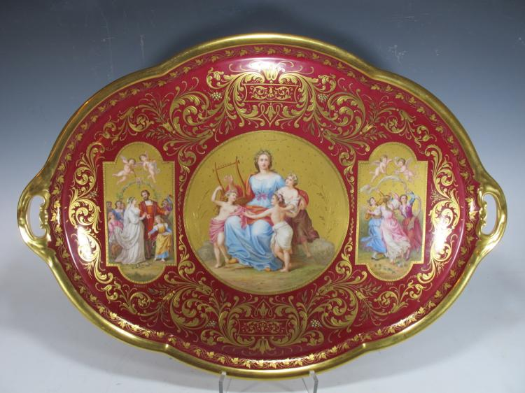 Antique huge Old Vienna porcelain tray