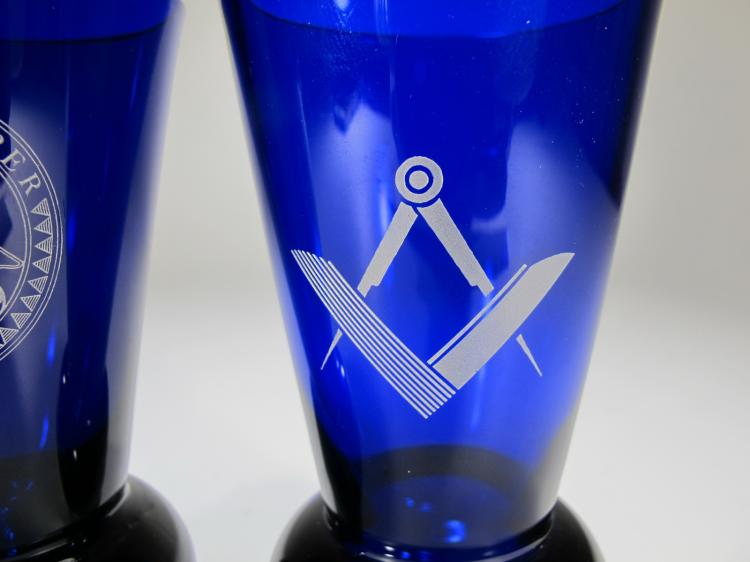Pair of Masonic blue firing glasses