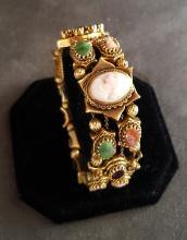 14k Cameo and Gemstone Bracelet
