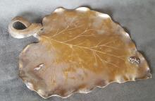 Handmade American Aesthetic Mixed-Metals Tray – Leaf Form w/Snail & Frog