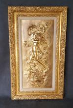Karl Sterrer, Austrian Sculptor (1844-1918) Gilded Bronze Repousse Plaque