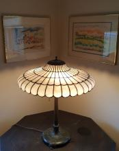 Bigelow, Kennard & Co. Leaded Glass and Bronze Table Lamp
