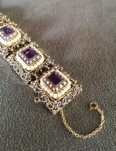 14k Gold, Amethyst and Pearl Bracelet