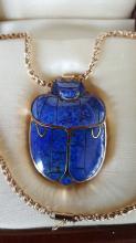 Large 14k and Lapis Lazuli Scarab Necklace