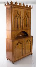 19th Century German Biedermeier Gothic Two- part Cabinet
