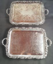 Pair English Silver Plate Serving Trays by Ellis-Barker