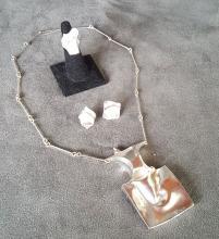 Sterling Silver Designer Necklace Suite: Bjorn Weckstrom (1935) Designer