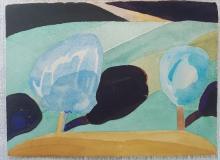 Paul Narkiewicz American (1937-) Watercolor from Italian Countryside Series