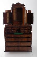 19th Century Mahogany Biedermeier Secretaire Cylinder Desk