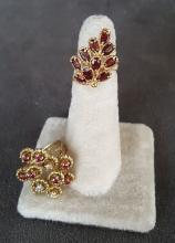 Two 14k Yellow Gold & Ruby Fancy Rings